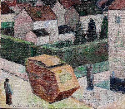 """Michael Otto """"BERLINER VORSTADT (2)"""", 2021, Ölfarbe auf Leinwand, 33x38 cm"""