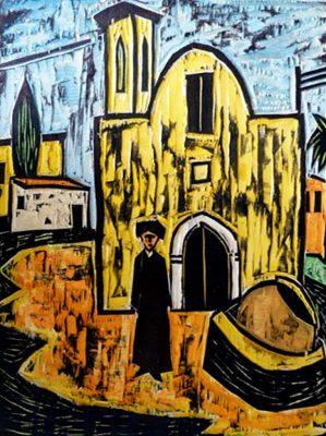Peter Rensch, Dorplatz in Polis, 2005, handkolorierter Druckstock, monogramiert, Unikat, 29 x 39 cm, auf Holzplatte 45 x 35 cm montiert