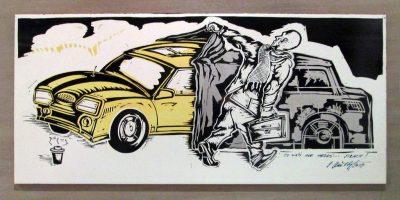 "Petr Prichystal ""Angst"", 2017, bemalte Keramikfliese, 30x60 cm"