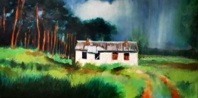 "David Baldwin ""Verfallenes Haus"" (2019) | Öl auf Leinwand, 80x40 cm"