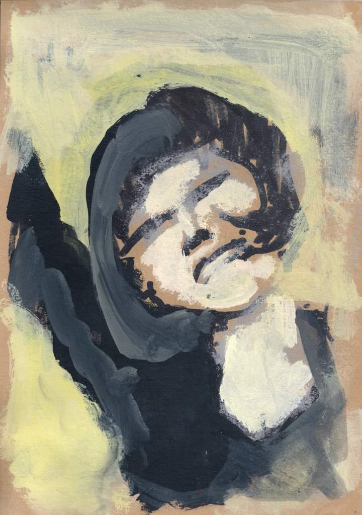 """Michael Wahl """"au revoir"""" (2020), Acryl auf Papier, 50x35 cm"""