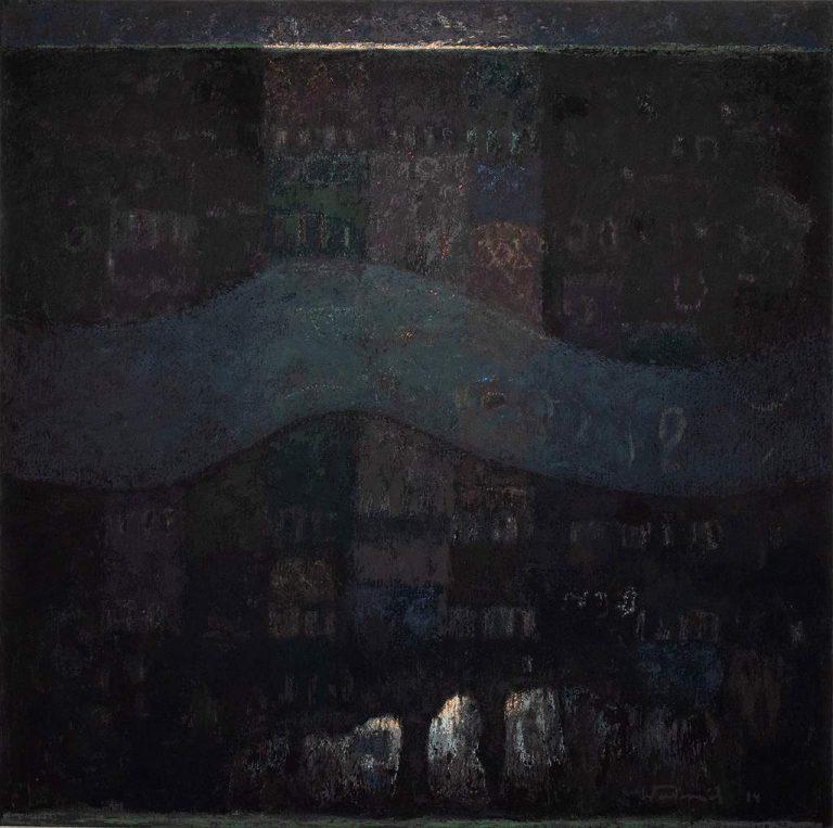 """Peter Weinreich """"Murlin River"""" (2014), Eitempera auf Leinwand, 100x100 cm"""