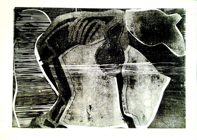 "Ulrike Koloska ""Metamorphosen III"" (2021) | Linolschnitt/Collage | 60x80 cm"