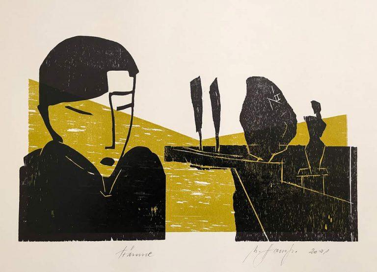 "Ute Hausfeld ""Sonnige Tage"" (2021) | Holzschnitt auf Papier | 30x42 cm"