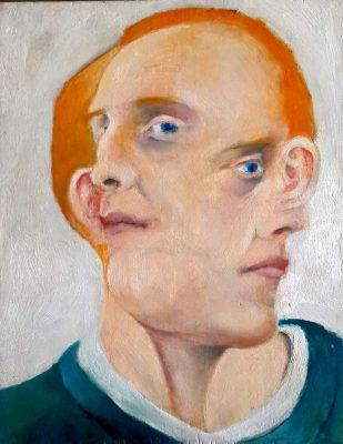 "David Baldwin ""Brendan und wieder Brendan"" (2020) | Öl auf Holz, 24x29 cm"