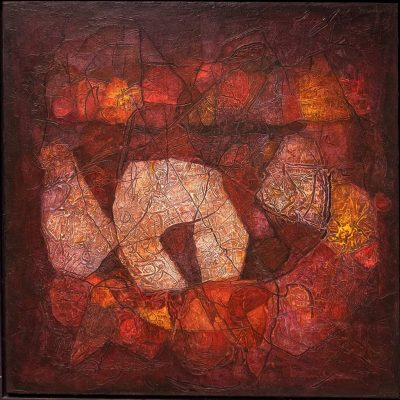 """Peter Weinreich """"Vergessener Ort"""" (2016), Spachtelmasse, Chinatusche, Lack auf Leinwand, 83x83cm"""