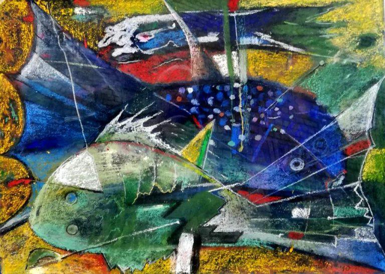 """Günter """"Benno"""" Kiefer-Lerch """"Meeresschönheiten"""" (2010)   Pastellkreide im Passepartout   (50x70) 80x90 cm"""