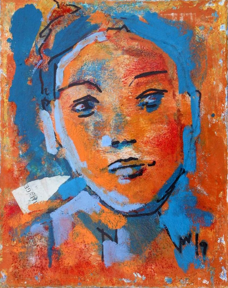 "Michael Wahl ""Trotzdem? (sur prise)"" (2019) | Acryl mit Collage auf Leinwand | 50x40 cm"
