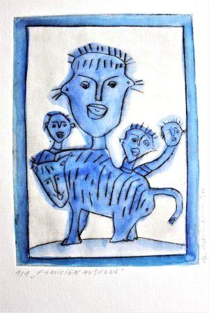 "Barbara Meinharth ""Familienausflug"" (2011) | Aquarell über Kaltnadelradierung | 16,5x12 cm"