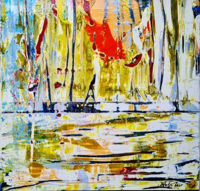 "Antje Burr ""Am Hafen"" (2019) | Acryl auf Holzwerkstoff, 19x19 cm"
