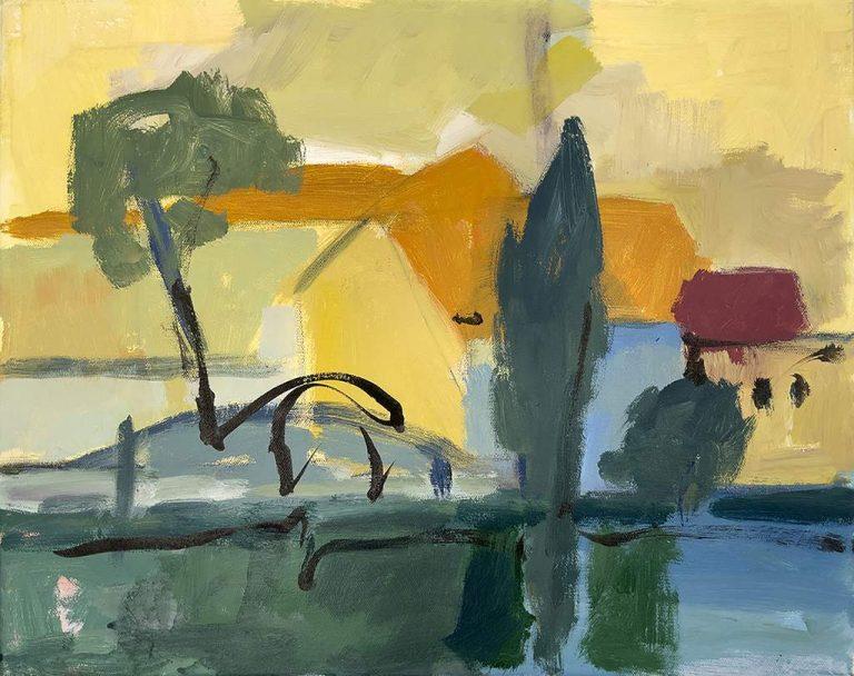"Ute Hausfeld ""Haus am See"" (2021) | Acryl und Tusche auf Leinwand | 40x50 cm"