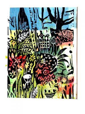 "Franziska Groszer ""Garten"" (2018) | Holzschnitt auf Druckfarben | 23x31 cm, Rahmen 40x50 cm"