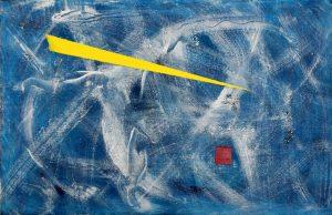"Koki van Trotten ""Viele Farben Blau"" (2021) | Öl & Acryl auf Karton | 32,4x50 cm"