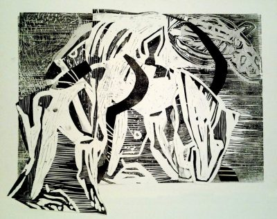 "Ulrike Koloska ""Metamorphosen II"" (2021) | Linolschnitt, Collage, Unikat | 60x80 cm"