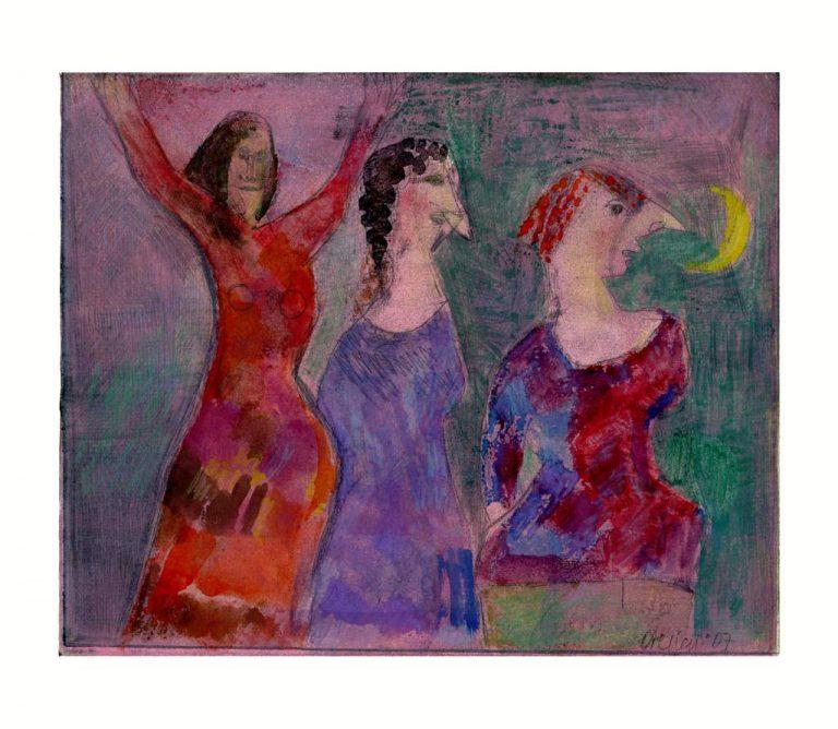 "Egon Bresien ""Drei Schwestern"" (2007) | Farbradierung/Aquarell | 25x21 cm"