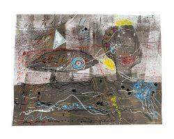 """Franziska Groszer """"Wasserwanderung"""" (2018/20), Mischtechnik auf Papier, 20x15,5 cm"""