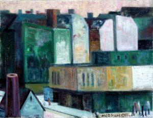 """Michael Otto """"Berliner Vorstadt"""" (1), 2018, Ölfarbe, Leinwand, 29x38 cm"""