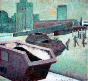 """Michael Otto """"CONTAINER VOR DEM HAUPTBAHNHOF"""", 2017, Ölfarbe, Leinwand, 32x35 cm"""