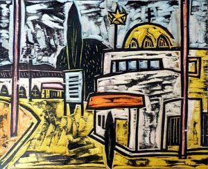 """Peter Rensch """"Platz mit Moschee"""", 2004, handkolorierter Druckstock- monogramiert-Unikat2004, handkolorierter Druckstock, monogramiert, Unikat, 26 x 31 cm, auf Holzplatte 45 x 35 cm montiert,"""