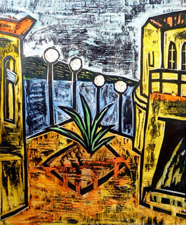 Peter Rensch, Auf Chios, 1999, handkolorierter Druckstock, monogramiert, Unikat, 29 x 34 xm, auf Holzplatte 45 x 35 cm montiert