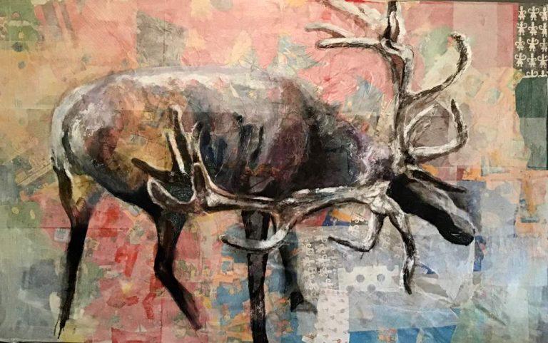 "Sabine Schuldt ""Elch"" ,2015, Acryl auf Leinwand, 100x200 cm"