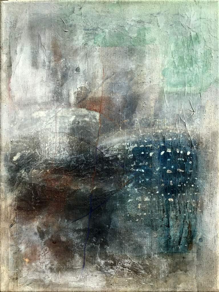 """Sabine Schuldt """"Empfängnis"""", 2019, Acryl auf Leinwand, 40x75 cm"""