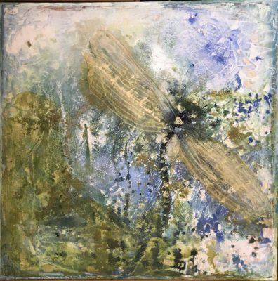 Sabine Schuldt, Libelle, 2016, Acryl auf Spanplatte, 150x150 cm