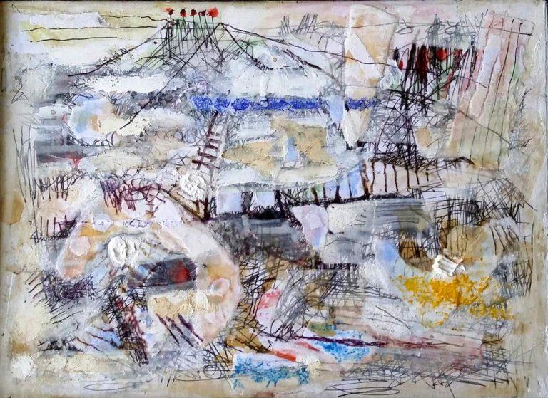 "Thomas Habedank ""Brückenfluss"" (2021)   Mischtechik   23×32 cm"