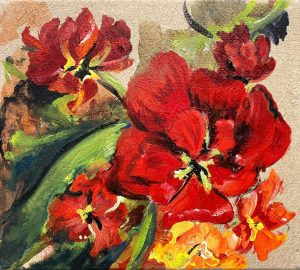 "Verena Hemmerlein ""Tulpen I"" (2020) | Acryl auf Leinwand | 35x39 cm"