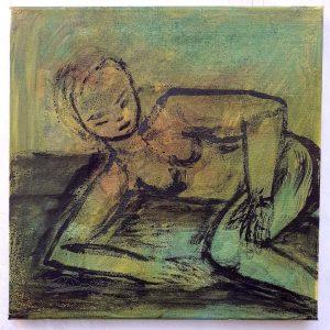 """Wolfgang Ramisch """"Die grüne Hoffnung"""", 2021, Öl und Tusche auf Leinwand, 40x40 cm"""