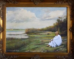 2-Alf Ator sitzt am Ufer-55x45cm-Titel