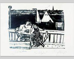 Dieter Goltzsche-Am Müggelsee-Lithographie-1959-Unikat-TITEL